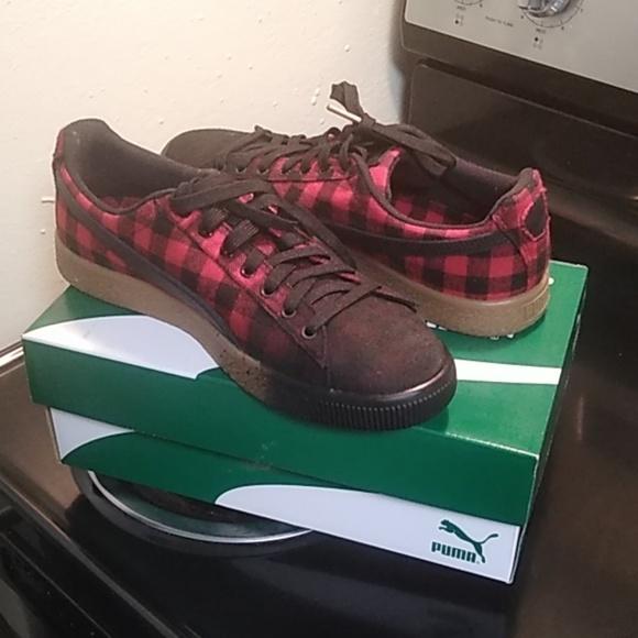 Puma Shoes | Clyde Red Buffalo Plaid S